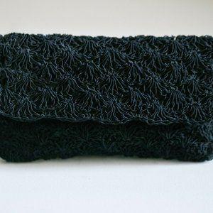 Black Crochet Look Beaded Japan Made Chic Bag